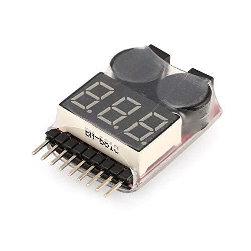 Lipo Batteriespannungsprüfer Voltmeter-Anzeige Checker Doppellautsprecher 2in1 1 s-8 s Kombination Low Voltage-Summer-Warnung (Farbe: rot)