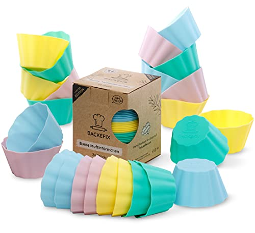 Backefix Silikon Muffinförmchen BPA frei – 24 Stück je 7,5x4cm Wiederverwendbare Muffinformen Silikon groß, antihaftend Silikonformen Muffin bunt Pastell