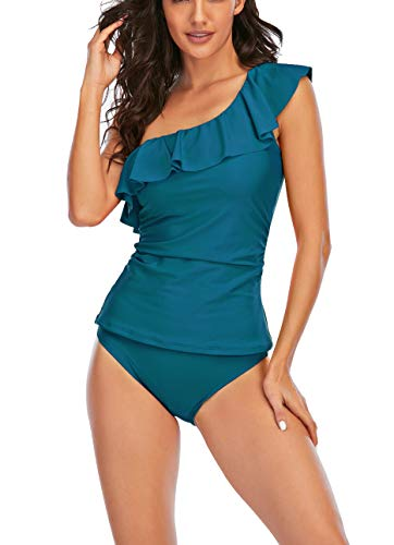 Bescott Traje de baño de dos piezas con control de barriga para mujer, un hombro, tankini adelgazante, trajes de baño para mujer con volantes (azul lago, mediano)