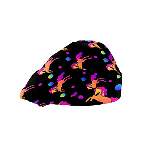 Gorra de trabajo para cabello largo con banda elástica ajustable para el sudor para hombres bufanda de trabajo impresa 3D sombreros abstractos arcoíris unicornio