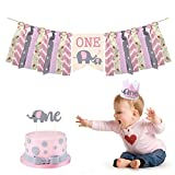 Cieovo Pink Baby Elephant High Chair Banner Kit Set of 3 - Elephant Highchair Banner, Crown Hat With One Cake Topper for Pink Elephant Theme Baby Shower 1st Birthday Party Supplies