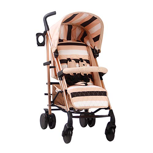 My Babiie AM to PM MB51 Blush Stripes Rose Gold Stroller, High Quality, Lightweight Frame, Comfort, Manoeuvrability, Suitable from Birth to Maximum 22kg, with Cup Holder, Rain Cover and Footmuff