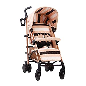 My Babiie AM to PM MB51 Blush Stripes Rose Gold Stroller   2