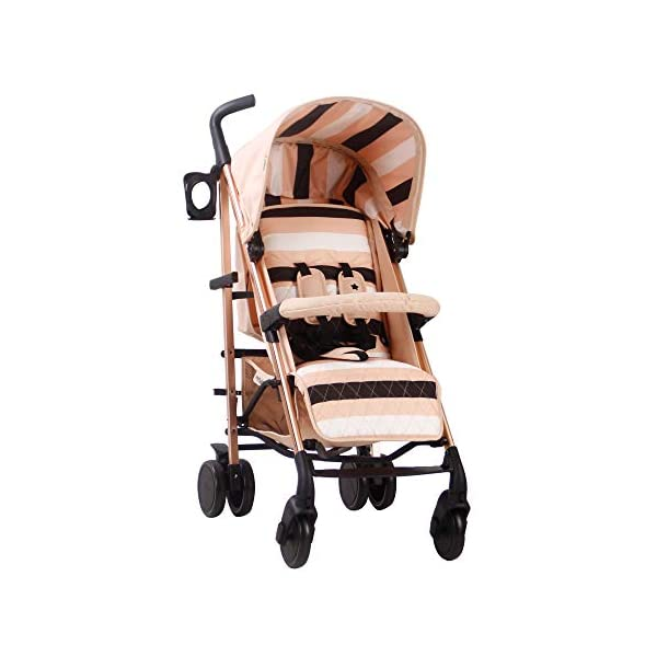 My Babiie AM to PM MB51 Blush Stripes Rose Gold Stroller My Babiie Designed by music and lifestyle star Christina Milian in a beautiful black frame and leopard print as part of her AMPM range named after her 2001 hit song AM to PM Stylish ultra-modern stroller, stunning complimentary colour handles, height adjustable handles, Lightweight & strong aluminium chassis, easy fold technology, lockable front swivel wheels, side carry handle, compact fold Extendable 3 position canopy, padded removable front bar, large storage basket, front and rear wheel suspension, adjustable 2-position leg rest 1