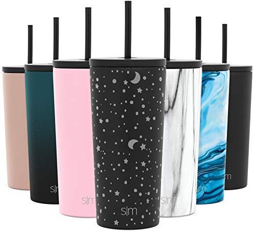 Simple Modern 590mL Classic Thermobecher mit Stroh und Klappdeckel - Kaffeebecher to go Thermoskanne Trinkflasche Edelstahl vakuumisoliert Tasse für Kaffee oder Bier Thermosflasche Graviert: Mond