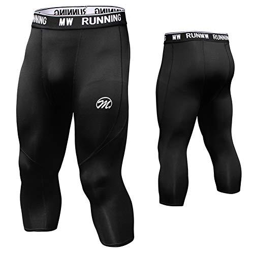 MEETWEE Kompressionshose Herren, 3/4 Laufhosen Sport Leggings Atmungsaktiv Funktionsunterhose Tights Unterhose 3/4-schwarz, M