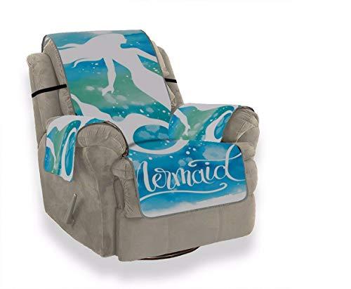 A.Monamour Sofabezug Sofaüberwurf Sesselschoner Hand Gezeichnete Meerjungfrau Silhouette Blauen Aquarell Samt Sesselbezug Sesselhusse Sessel Abdeckung Sesselschutz Stuhl Abdeckung Stuhlschutz