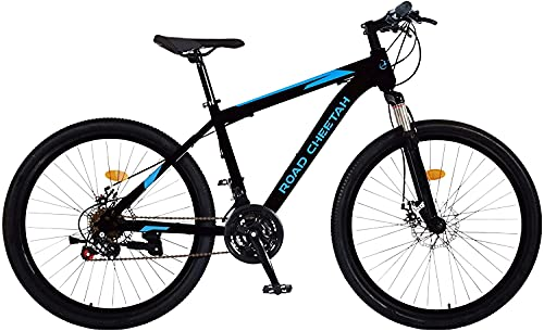 Road Cheetah 27.5 Inch Mountain Bike - 21-Speed Bike for Men - Lightweight Aluminum Mountain Bicycle for Men - Disc Brakes Suspension Fork - Black