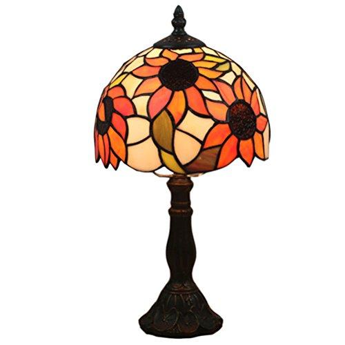 Odziezet Tiffany Estilo Lámpara de Mesa Anchura 8 Pulgadas Pastoral Vitral Lámpara de Mesita de Dormitorio Base de Metal de Latón Antiguo