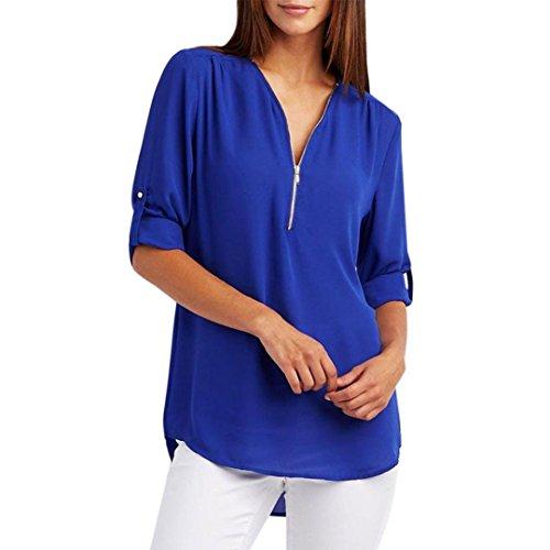 Hansee Frauen Tops, Frauen Frühjahr Solid Casual Chiffon Tops mit Zipper T-Shirt Loose Top Langarm Bluse (XL, Blau)
