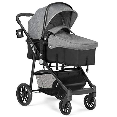 Costzon Baby Stroller, 2 in 1 Convertible Carriage Bassinet to Stroller, Pushchair with Foot Cover, Cup Holder, Large Storage Space, Wheels Suspension, 5-Point Harness (Gray)