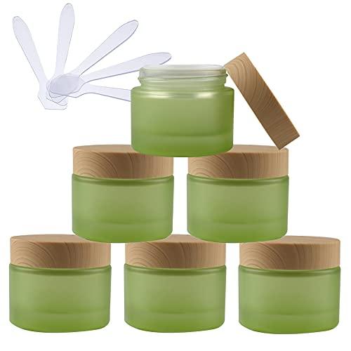 TIANZD 6 Pieza Vacíos Verde Envases Cosmética Vidrio 50 ml Tarro de Cosmética de Cristal 50 g con Inners Tapa Botella de Crema para Cremas Hidratantes Loción Ungüento