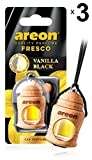 AREON Fresco Désodorisant Voiture Liquide Vanille Noir Bouteille en Bois Flacon Rétroviseur Pendu 4ml (Vanilla Black Lot de 3)