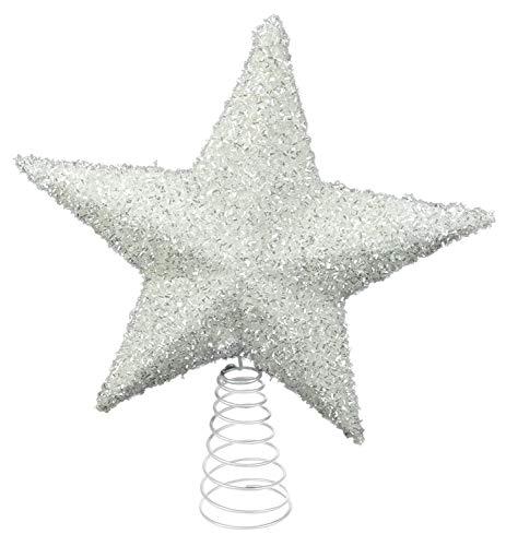 26cm Bella Bianco Scintillante Albero Top Star - Topper Albero di Natale (DP38)