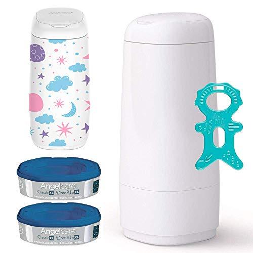 Angelcare® Dress-Up XL Starter-Set: Windeleimer Dress-Up XL + 2 Nachfüllkassette + Dress-Up XL Bezug SKY