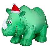 Gemmy - Rinoceronte de Navidad con gorro de Papá Noel hinchable para decoración de interiores y exteriores