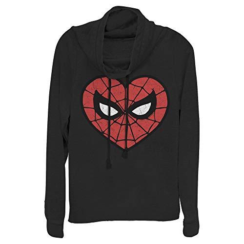 Junior's Marvel Valentine's Day Spider-Man Heart Mask Cowl Neck Sweatshirt - Black - 2X Large