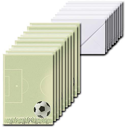 10 Blatt Briefpapier für Kinder 10 x 15 cm A6 inkl. 10 Briefumschläge im Format 60 x 90 mm Fußball