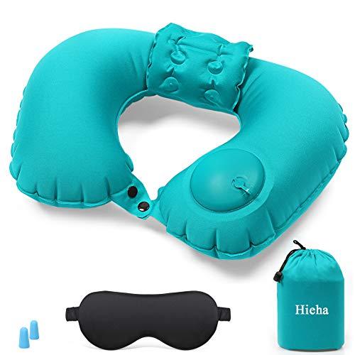 Hieha Nackenkissen Ultralight aufblasbares Reisekissen mit Patent ergonomisches Nackenstützkissen für Nacken 360 ° Stützfunktion Nackenhörnchen Ideal für Reise Büro und Hau,Wiegt nur 105 Gramm