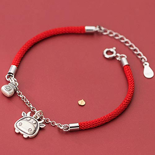 WCOCOW Lucky Charm Bracelet 2021 Año del OX S925 ST925 Sterling Silver Bull Bull Money Bolsa Colgante Red Rojo Pulsera Amuleto Ajuste Atraer Riqueza
