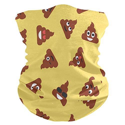 Lerous - Pasamontañas sin costuras, diseño de caca de emoticono, para el cuello, polainas para el polvo, UV, resistencia al sol, deportes al aire libre (con filtro de 2 pm 2.5)