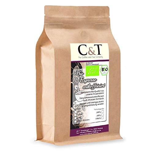 C&T Bio Espresso Crema | Cafe entkoffeiniert 100 {99b1ed604d81f570674a4ab7b949c110a8ea03df84d25eb9b8c4a30f36b57755} Arabica 500 g entkoffeinierter Kaffee gemahlen im Kraftpapierbeutel
