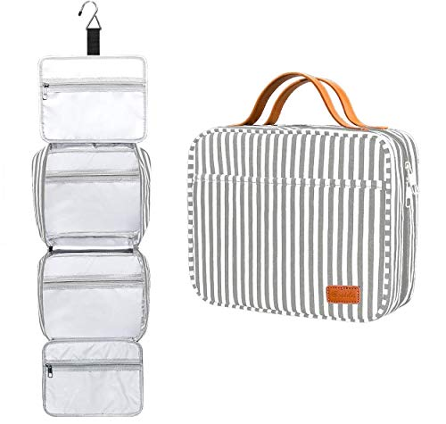 Hanging Travel Toiletry Bag,Large Capacity Cosmetic Travel Toiletry Organizer for Women with 4 Compartments & 1 Sturdy Hook,Perfect for Travel/Daily Use/Christmas