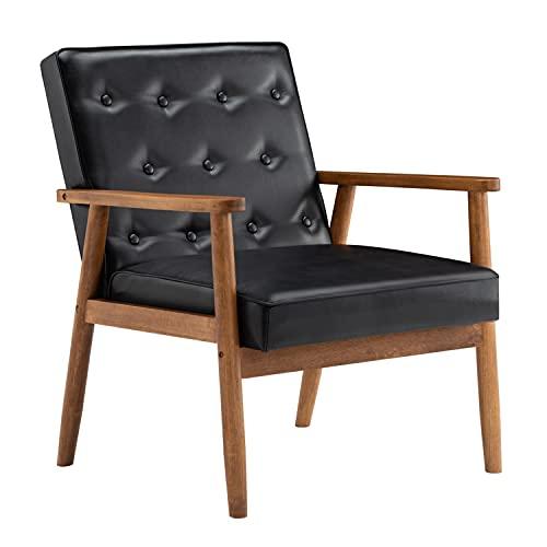 GEFUHONG Silla de acento para muebles de sala de estar de mediados de siglo moderno retro dormitorio sillón de tela tapizado con patas de madera (29.53 x 27.17 x 33.07) (negro)