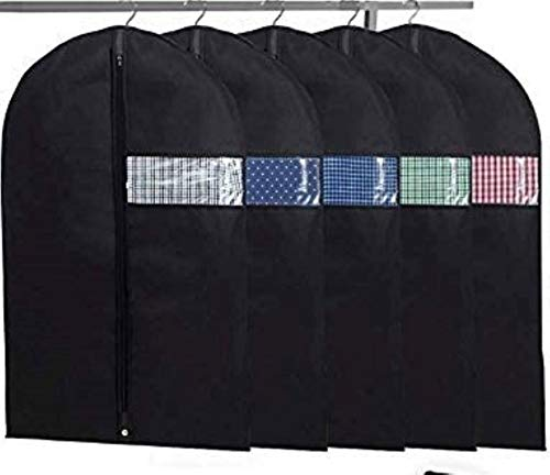 Garment Bags with Shoe Bag - Breathable Garment Bag Covers Set of 5 for Suit Carriers Dresses Linens Storage or Travel - Suit Bag with Clear Window