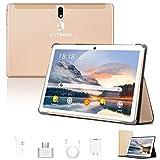 Tablet 10 Pulgadas Android 9 Pie 4G LTE Call 4GB RAM +64GB ROM Tableta- Certificación Google GMS- Quad Core 8000mAh 8MP Ultrar-Rápido Tablets Type-C Dual SIM / WiFi /Bluetooth/ OTG/GPS/Netfilix(Oro)