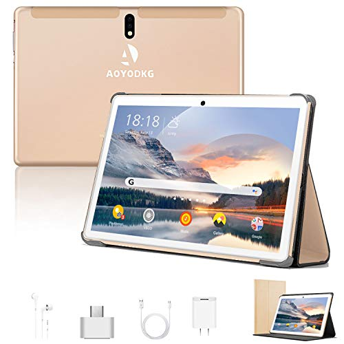 Tablet 10 Pollici Android 9.0 Pie Tablets 4GB RAM+64GB ROM,4G LTE Quad Core ,Certificato Google GSM, Dual SIM Tablet Pc con 3 Slot 8000mAh WIF I Bluetooth GPS Type-C (5.0 +8.0 MP Telecamera)-d oro