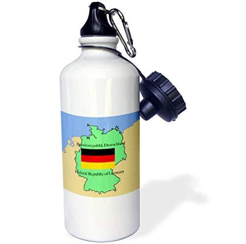qidushop De kaart En Vlag Van Duitsland Met De Republiek Duitsland Gedrukt In Engels En Duits Wit Sport Waterfles RVS Isolator Cup voor Fietsen Camping 21oz