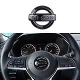 MAXDOOL Carbon Fiber Steering Wheel Cover Sticker Sequins Frame Trim for Nissan Rogue Altima Sentra Kicks LEAF Versa Maxima Pathfinder Interior Accessories(Black)