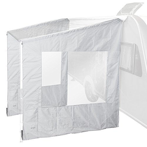 Universele zijwand met venster voor luifel, grijs, 225x213x290-250x234x290 cm