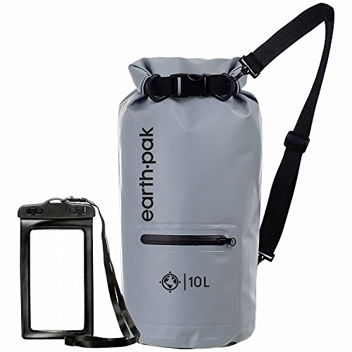 Earth Pak- Waterproof Dry Bag with Front Zippered Pocket Keeps Gear Dry for Kayaking