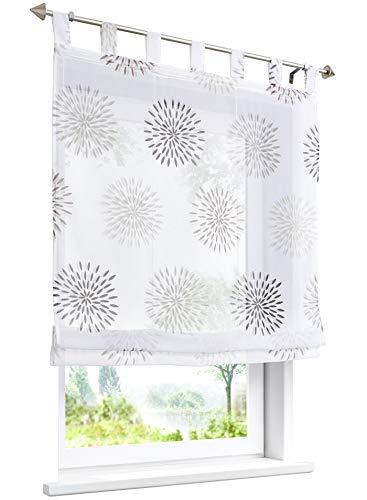 LiYa 1 Stück Raffrollo mit Kreis-Motiven Floral Design Raffgardine Voile Transparent Vorhang (BxH 100x140cm, Braun)
