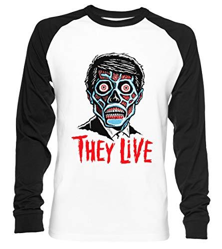 They LIVE!!! Unisex Baseball T-Shirt Langarm Herren Damen Weiß Schwarz