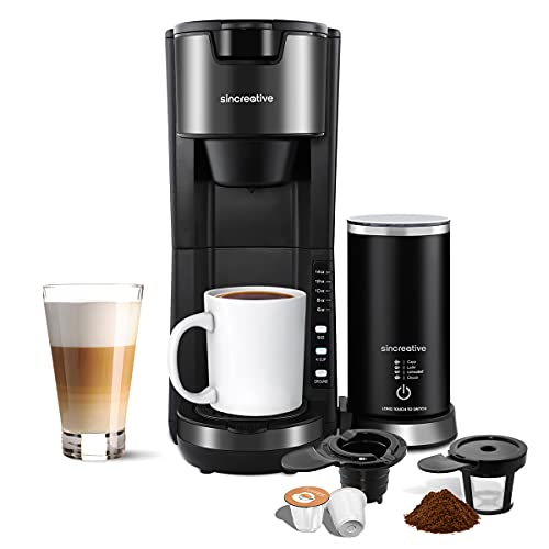Single-Serve Coffee Maker with Milk Frother, 30s Fast Brew Coffee Brewer Compatible with K Cup Capsules and Grounds, 2 in 1 Coffee Machine with 6 to 14 Oz Brew Size, 30 oz Detachable Reservoir and Adjustable Drip Tray