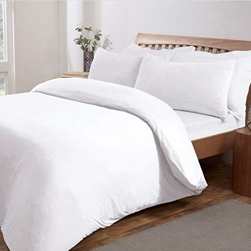 Sleepdown Jersey Melange - Juego de Funda de edredón para Cama Individual (135 x 200 cm), Color Blanco