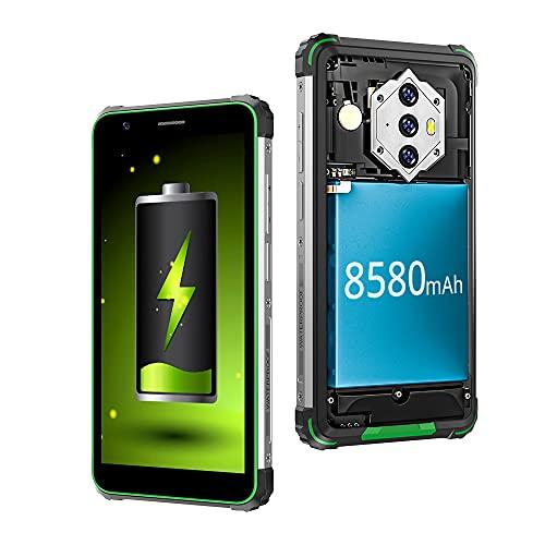 Móviles Resistentes, Blackview BV6600 Batería 8580mAh Carga Inversa 4GB+64GB(128GB Ampliable) Octa-Core Procesador Telefono Antigolpe, 5.7'' HD+ Pantalla, IA Cámara Triple 16MP+8MP, Dual 4G NFC/OTG