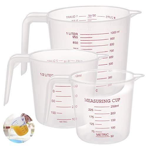 Teblacker Juego de tazas medidoras de plástico para cocina, juego de medidas para tartas, jarra de medición digital para hornear