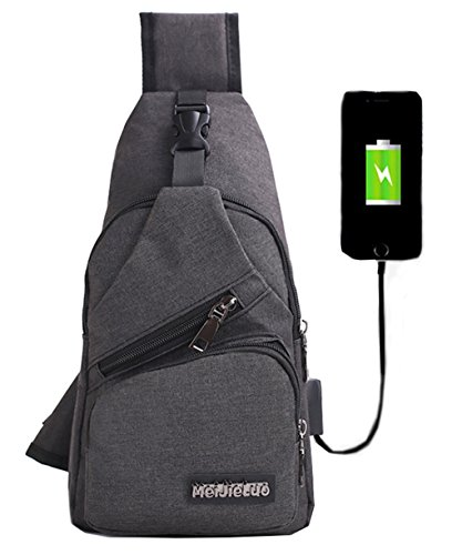 Mochila bandolera de pecho LemonGirl con cargador USB para hombres y mujeres  para senderismo