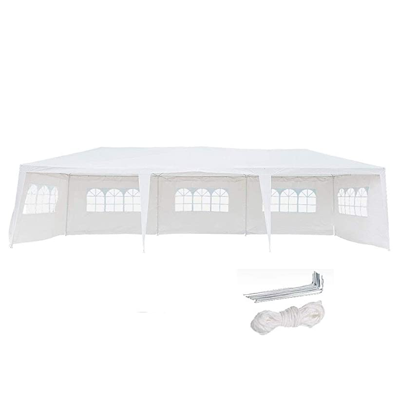 Z ZTDM 10x30 Party Tent Wedding Outdoor White Canopy Screen Sun Shelters Houses Gazebos with 8 Removable(6Windows & 2 Doors) Sides Sidewalls for BBQ Pool
