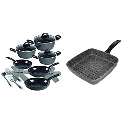 STONELINE Ceramic pentole-Set, 14-Pezzi & 7515 Bistecchiera Quadrata in Alluminio, 26x26 cm, Rivestimento Antiaderente