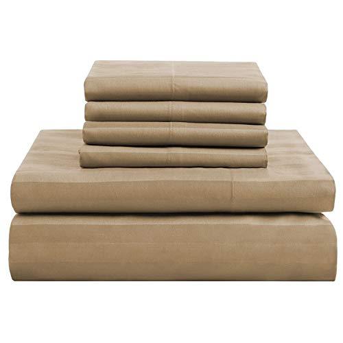 Juego de sábanas de 6 piezas (1 sábana inferior + 1 sábana superior + 4 fundas de almohada) de algodón egipcio de 600 hilos (tamaño king size, color gris pardo)
