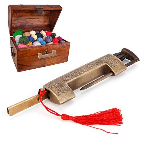 Dilwe Candado Vintage, candado de Cobre Tallado Delicado con Llave, candado de cajón con Moneda de Cobre, para gabinetes pequeños/Regalos(7cm spacing)