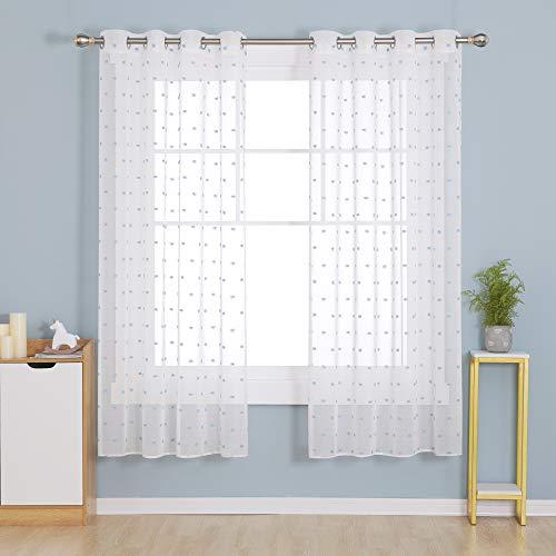 Deconovo Cortinas Traslúsidas de Visillos Salón para Ventana Dormitorio Moderno Infantiles Decorativos Suaves Resistentes 140x175cm Azul Cielo