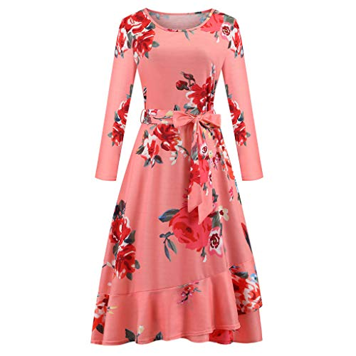 New WatFY Women's Dress Long Sleeve Casual Skirt Floral Print Midi Ball Gown Evening Party Dress O-N...
