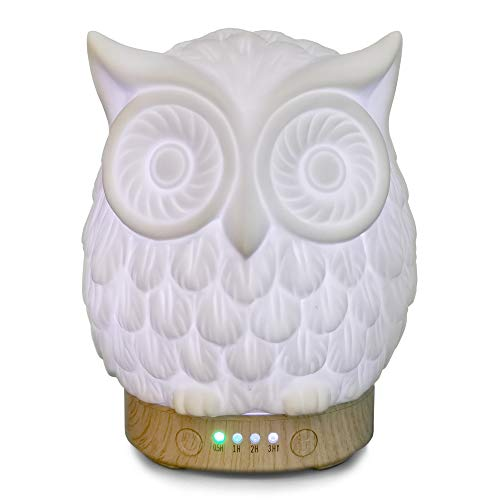 Earnest Living Essential Oil Diffuser Owl Diffuser 100 ml Timers Night Lights and Auto Off Function Home Office Humidifier Aromatherapy Diffusers for Essential Oils