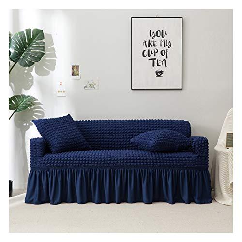 MISSMAO_FASHION2019 Stretch Sofabezug mit Rock Sofaüberwurf Möbelschutz Sofaüberzug Couchbezug Couch Schild Sofahusse Weich mit Gummiband Dunkelblau Richtig Chaise
